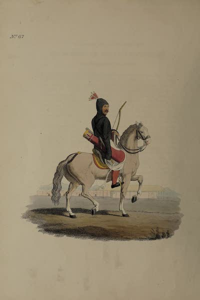 The Costume of the Russian Empire - A Circassian on Horseback in complete Armour (1811)