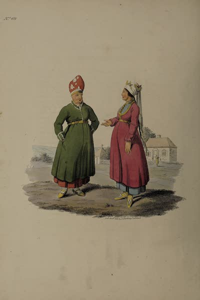 The Costume of the Russian Empire - The Wife of a Cossac of the Don, and a Girl of Tscherkask (1811)