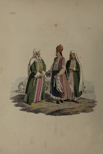 The Costume of the Russian Empire - A Nogais Tartar Lady of distinction. In the centre of the group a Princess of that Nation, attended by a Female Slave (1811)