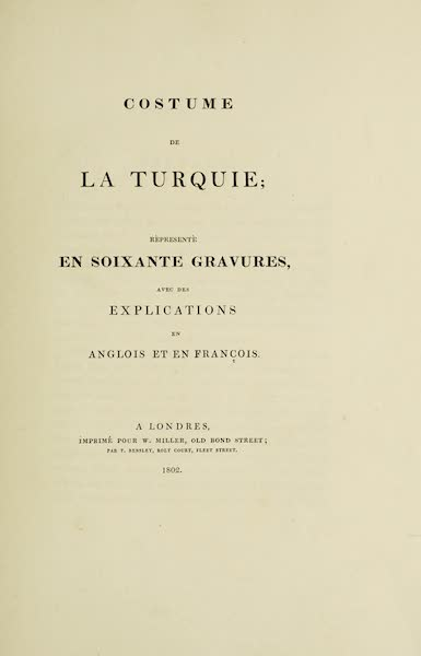 The Costume of Turkey - Title Page [French] (1802)