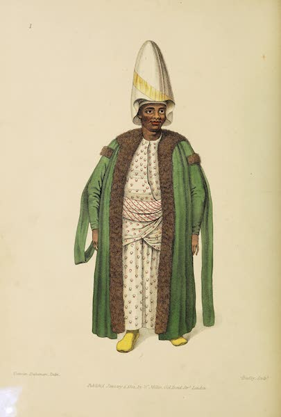 The Costume of Turkey - The Kislar Aga, or first Black Eunuch of the Seraglio (1802)