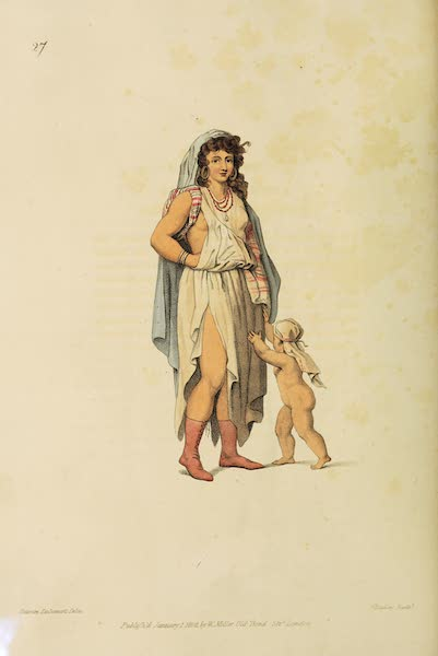 The Costume of Turkey - A Female Bedouin of the Desert, with her Child (1802)