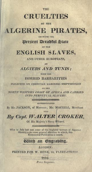 The Cruelties of the Algerine Pirates - Title Page (1816)