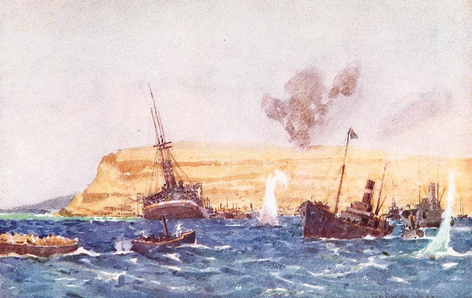 The Dardanelles : Colour Sketches from Gallipoli - Shells Falling on the Base Camp at Helles (1915)