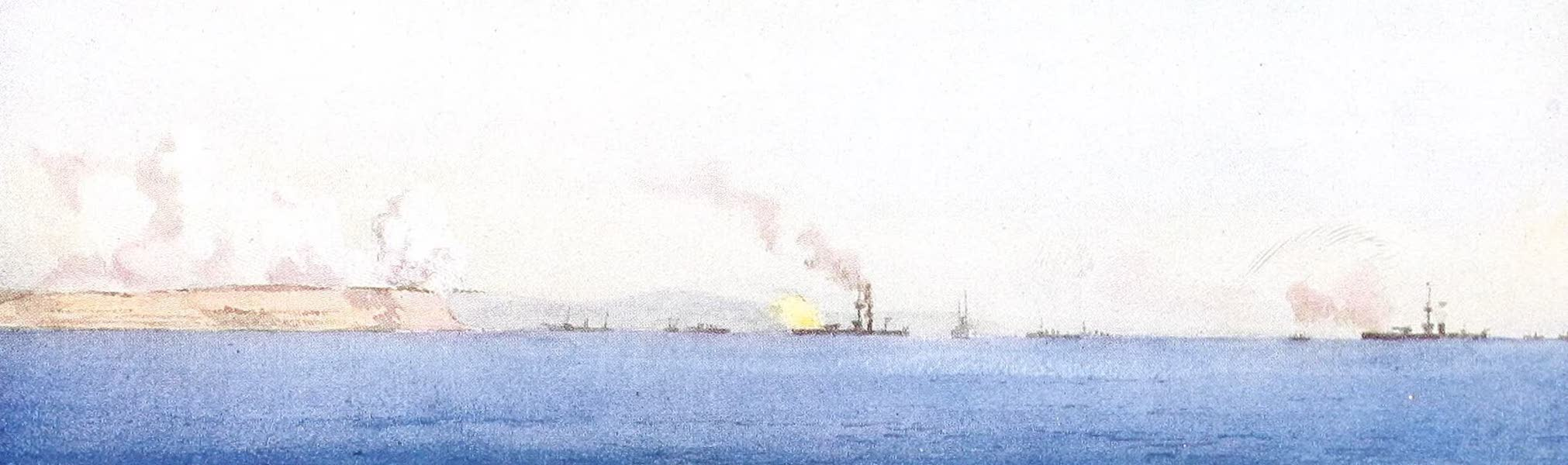 The Dardanelles : Colour Sketches from Gallipoli - Monitors Shelling Yeni Sher Village and Asiatic Batteries (1915)