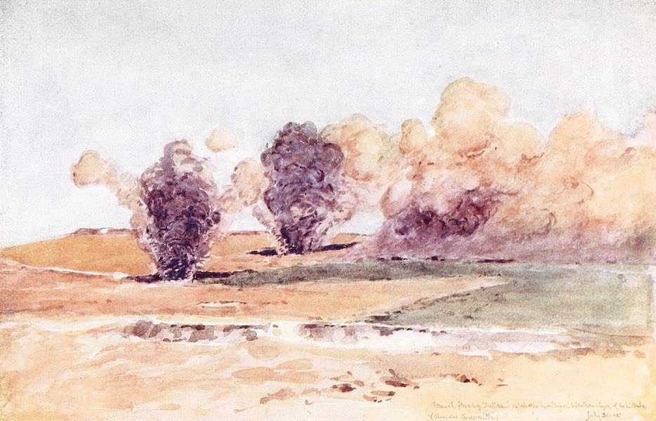 The Dardanelles : Colour Sketches from Gallipoli - French Flagship Suffren's 12-in. Shells Bursting on Western Slopes of Achi Baba (1915)