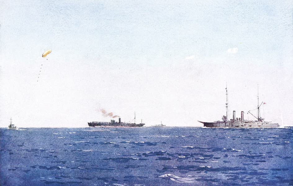 "The Dardanelles : Colour Sketches from Gallipoli - Balloon-ship Hector With Kite Balloon Up, ""Spotting,"" off the Left Flank (1915)"