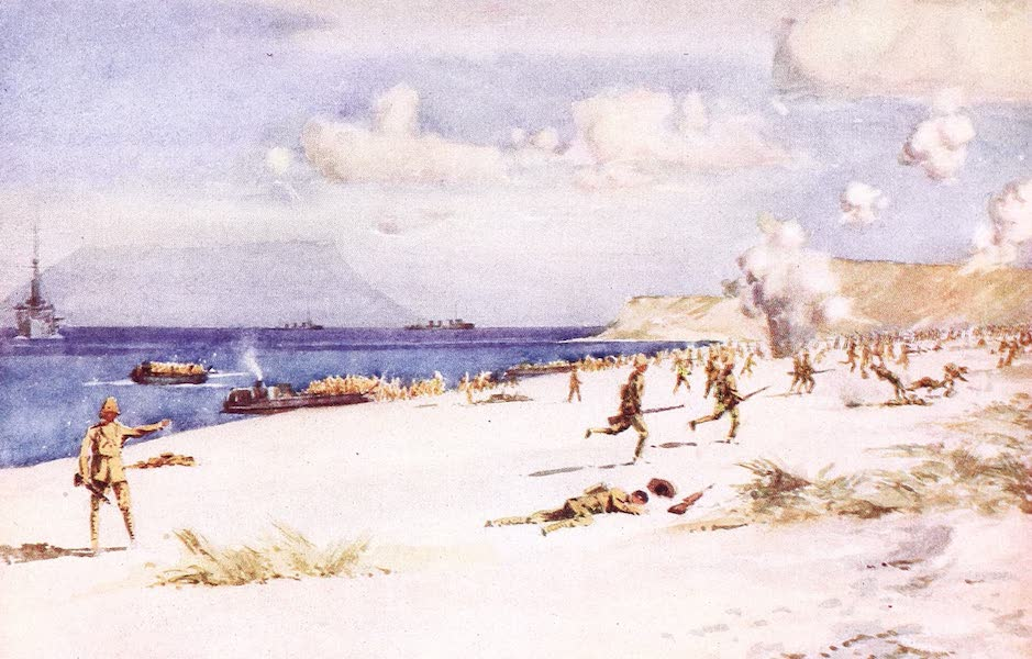 "The Dardanelles : Colour Sketches from Gallipoli - Troops Landing at ""C"" Beach, August 7 (1915)"
