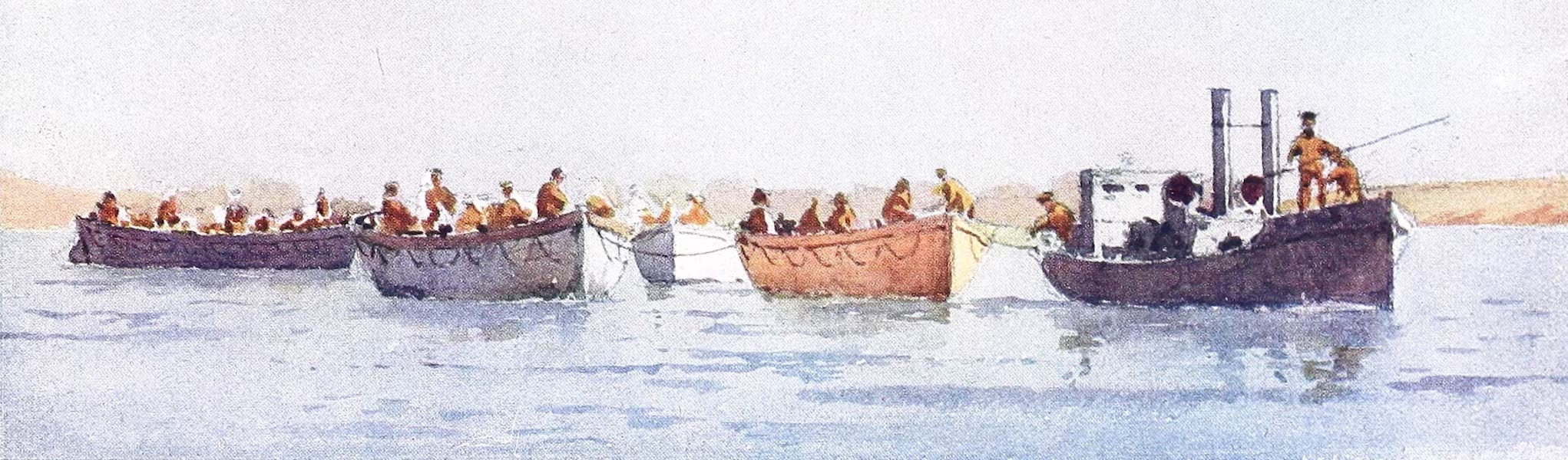 The Dardanelles : Colour Sketches from Gallipoli - Ship's Boats Going Off To A Hospital Ship With Wounded (1915)