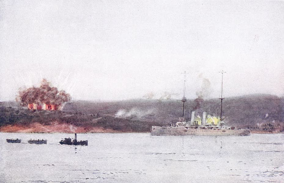 The Dardanelles : Colour Sketches from Gallipoli - H.M.S. Talbot in Suvla Bay Shelling Enemy Ridges at Dusk (1915)
