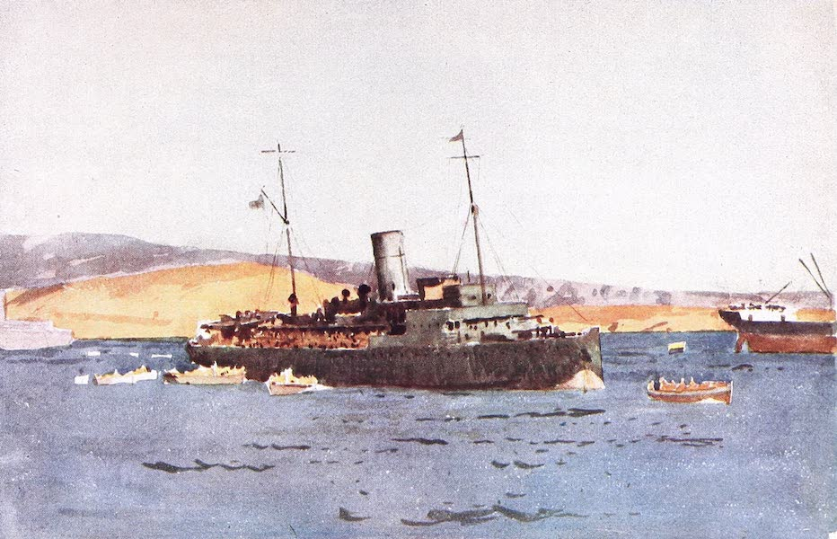 The Dardanelles : Colour Sketches from Gallipoli - H.M.S. Sarnia Landing Troops in Suvla Bay (1915)