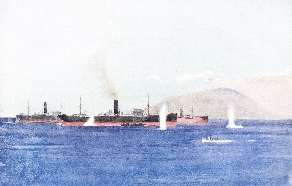 The Dardanelles : Colour Sketches from Gallipoli - Transports Under Shell-fire - Suvla Bay (1915)