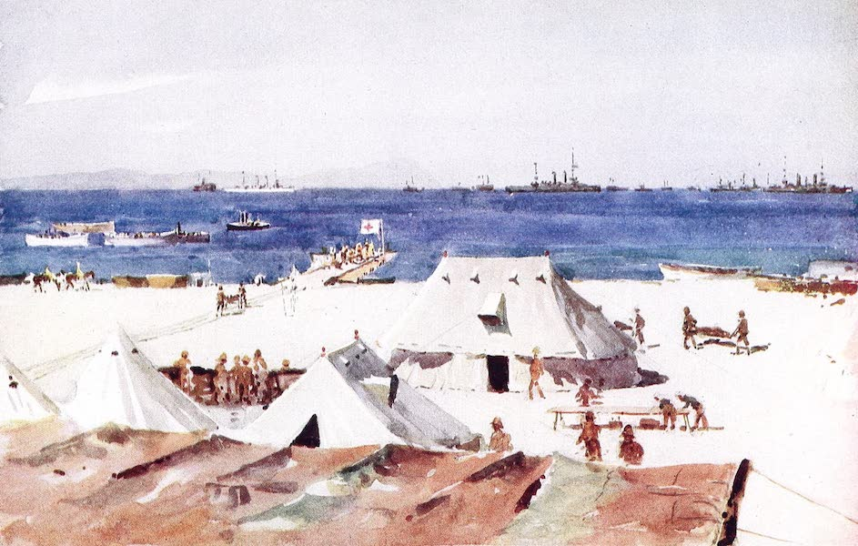 """The Dardanelles : Colour Sketches from Gallipoli - Dressing Station - """"A"""" Beach (1915)"""