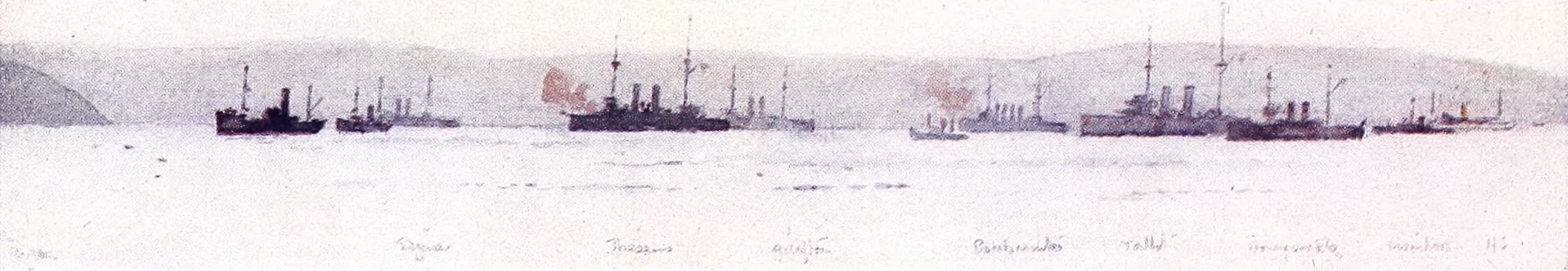 The Dardanelles : Colour Sketches from Gallipoli - Supporting Ships at the Suvla Landing (1915)