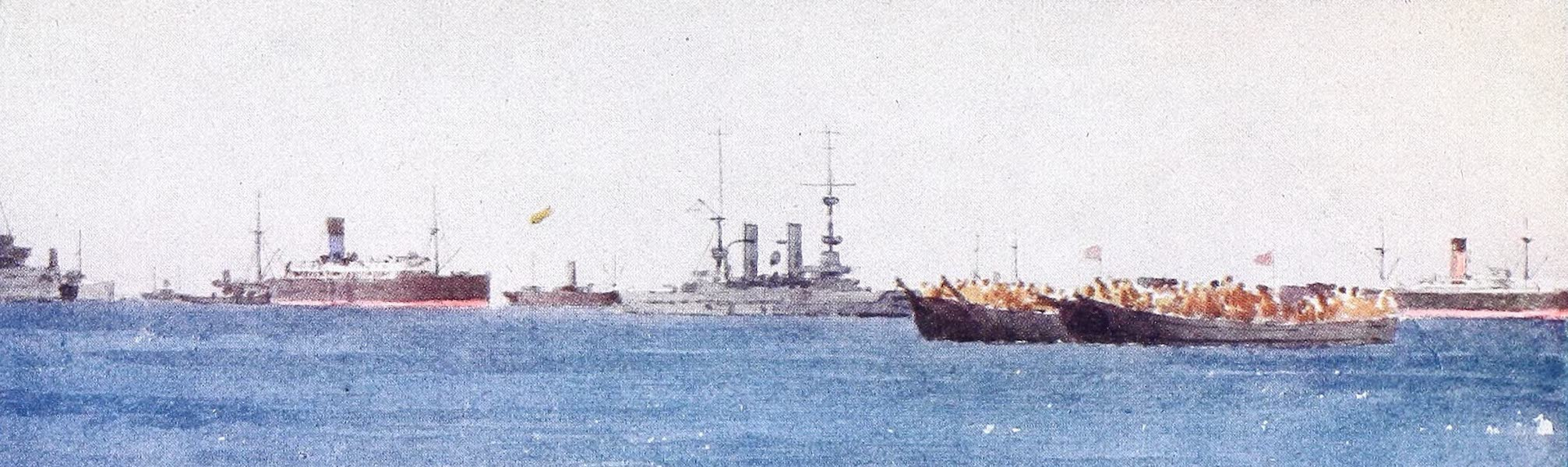 The Dardanelles : Colour Sketches from Gallipoli - Motor Lighters (1915)
