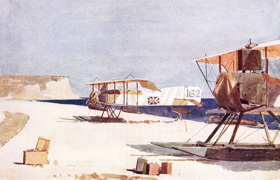 The Dardanelles : Colour Sketches from Gallipoli - Seaplanes at Kephalo (1915)