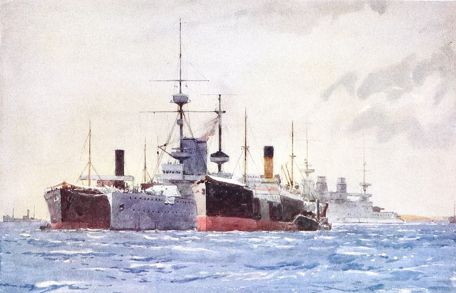 The Dardanelles : Colour Sketches from Gallipoli - H.M.S. Exmouth in Kephalo Harbour (1915)