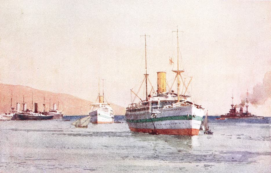 The Dardanelles : Colour Sketches from Gallipoli - Hospital Ships at Kephalo (1915)