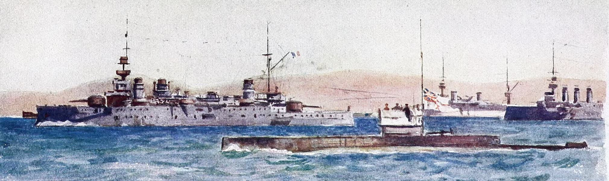 The Dardanelles : Colour Sketches from Gallipoli - Submarine E2 Returning from the Sea of Marmora (1915)