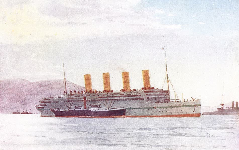 The Dardanelles : Colour Sketches from Gallipoli - Hospital Ship Aquitania at Mudros (1915)
