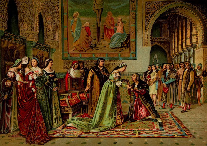 The Discovery and Conquest of the New World - Affectionate Reception of Columbus by Ferdinand and Isabella (1892)