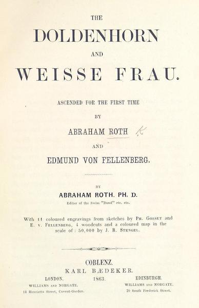 The Doldenhorn and Weisse Frau - Title Page (1863)