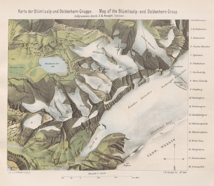 The Doldenhorn and Weisse Frau - Map of the Blumlisalp and Doldenhorn Group (1863)