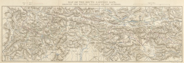 The Dolomite Mountains - Map of the South Eastern Alps Showing the Routes Followed by the Authors (1864)