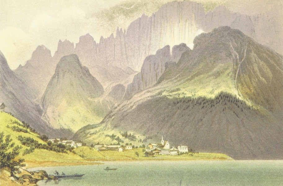 The Dolomite Mountains - Monte Civita and Lake and Village of Alleghe (1864)