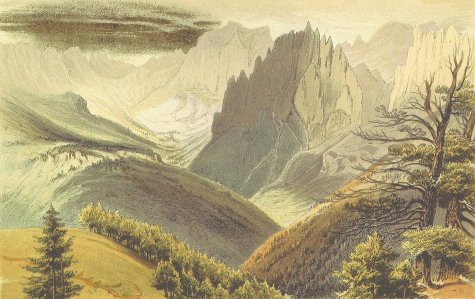 The Dolomite Mountains - General View of Rosengarten Gebirge from the Sasso di Damm, Fassa Thal (1864)