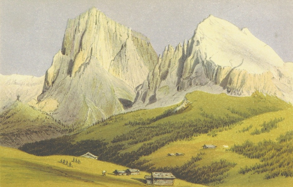 The Dolomite Mountains - The Langkofel and Plattkogel from the Seisser Alp (1864)