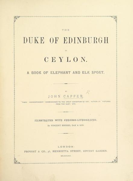 The Duke of Edinburgh in Ceylon - Title Page (1871)