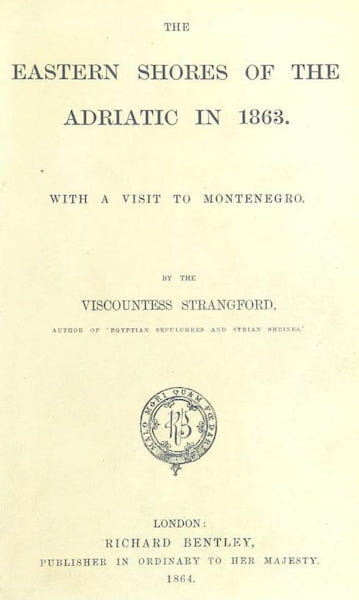 The Eastern Shores of the Adriatic - Title Page (1864)