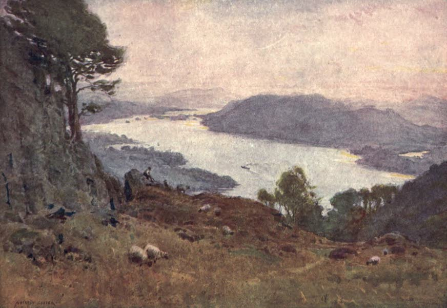 The English Lakes Painted and Described - Windermere from Wansfell (sunset) (1908)