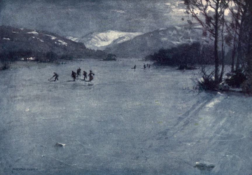 The English Lakes Painted and Described - Near the Ferry, Windermere : Skating by Moonlight (1908)