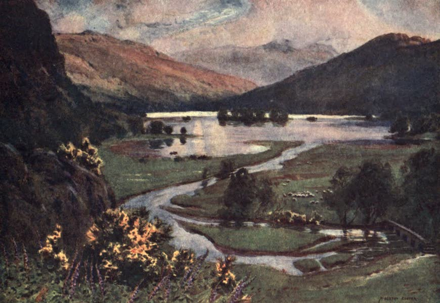 The English Lakes Painted and Described - Sunset, Rydal Water (1908)