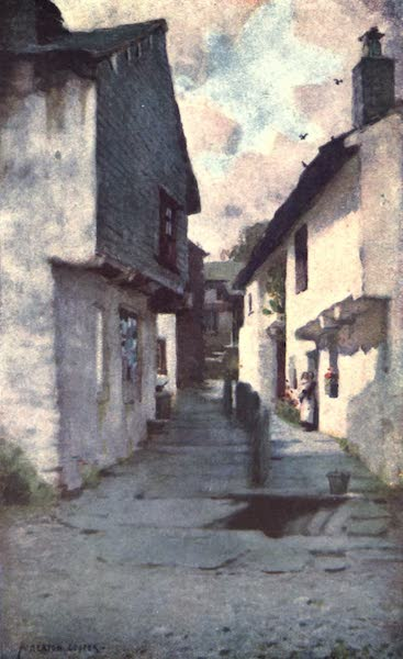 The English Lakes Painted and Described - An Old Street in Hawkshead (1908)