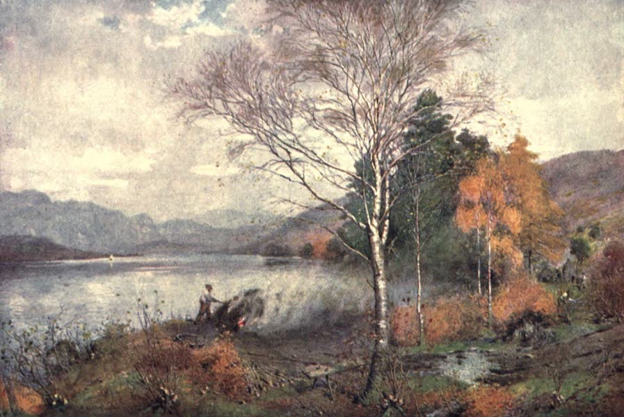The English Lakes Painted and Described - Charcoal-Bumers, Coniston Lake (1908)