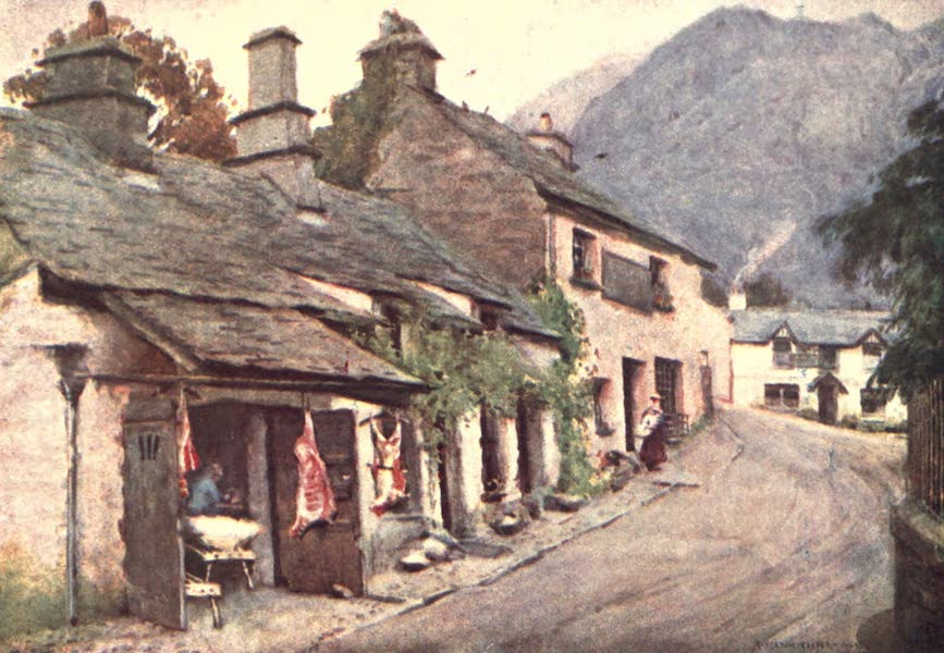 The English Lakes Painted and Described - Coniston Village : the Old Butcher's shop (1908)