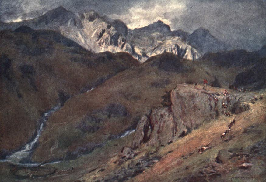 The English Lakes Painted and Described - A Fell Fox-hunt, Head of Eskdale and Scawfell (1908)