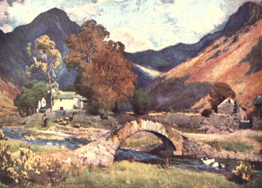 The English Lakes Painted and Described - Wastdalehead and Great Gable (towards evening in autumn) (1908)