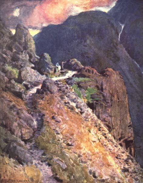The English Lakes Painted and Described - Nearing the top of Styhead Pass, Wastdale (1908)