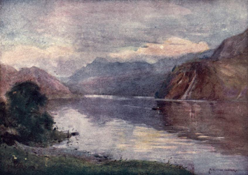 The English Lakes Painted and Described - Ennerdale Lake at Sunset (1908)
