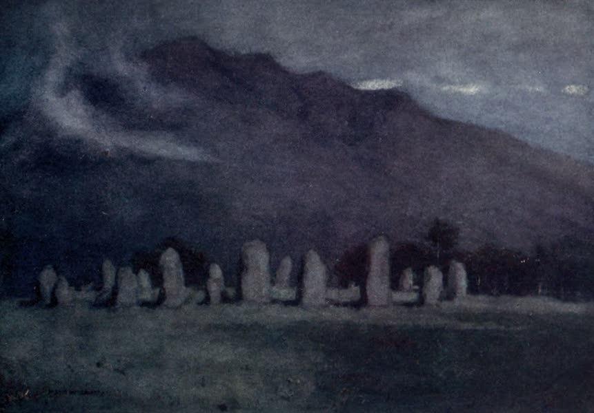 The English Lakes Painted and Described - Druid Circle, near Keswick (moonlight) (1908)