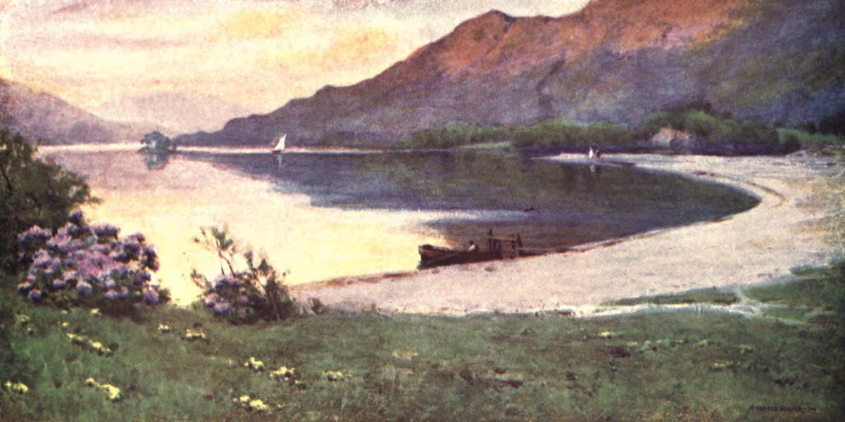 The English Lakes Painted and Described - Ullswater : the Silver Strand (afterglow) (1908)
