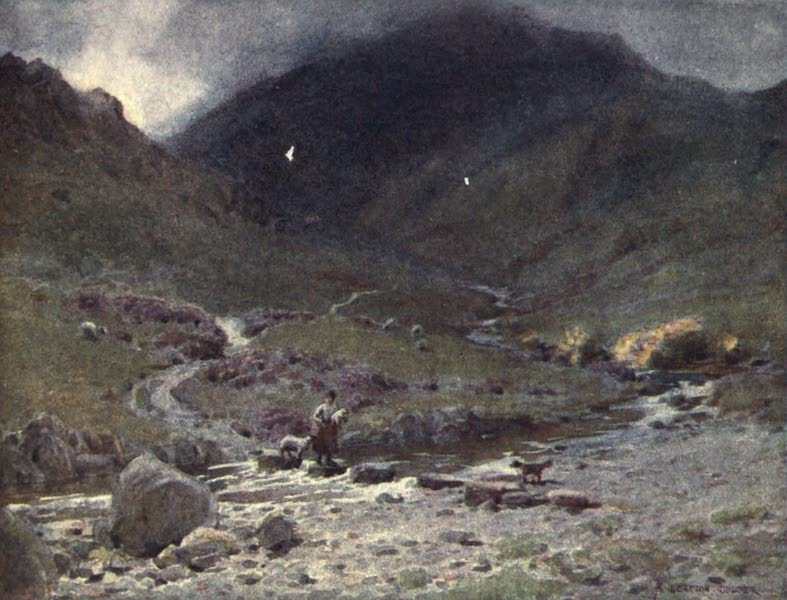 The English Lakes Painted and Described - Stepping-stones, Far Easedale, Grasmere (1908)