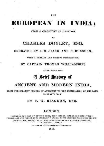 The European in India - Title Page (1813)