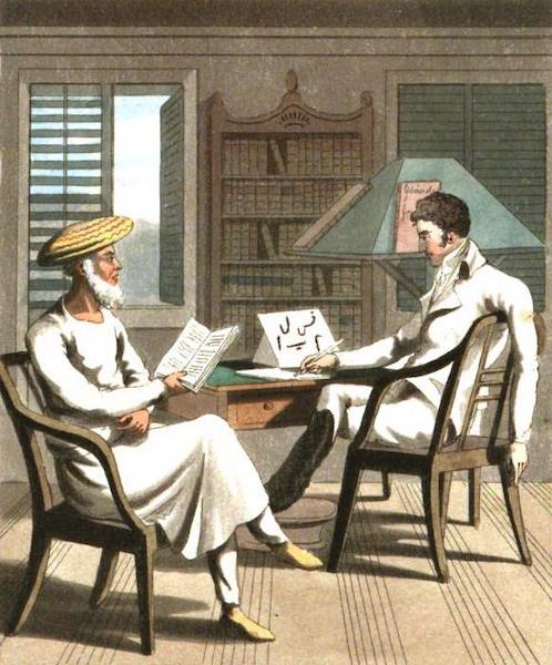 The European in India - Frontispiece. An European Gentleman with his Moonshee, of Native Professor of Languages (1813)