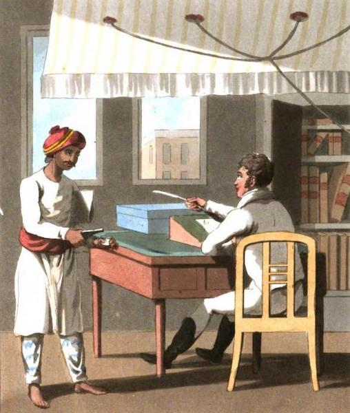 The European in India - A Gentleman in his private Office attended by his Duftoree, or Native Office-Keeper (1813)