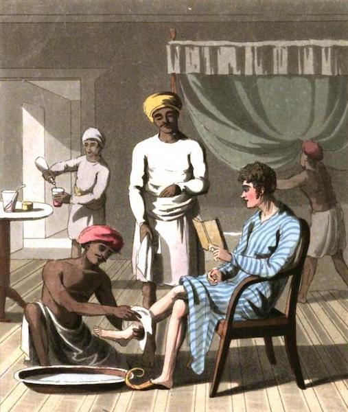 The European in India - A Gentleman Dressing, attended by his Head-Bearer, and other Servants (1813)